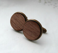 Luxe Plain Mahogany Wood Cufflinks Antique Brass