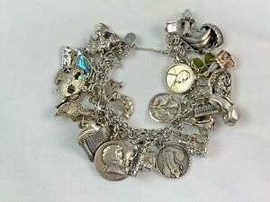 Sterling Silver Charm Bracelet Loaded With 26 Charms