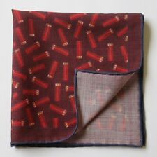 Wool & silk pocket square handkerchief. Burgundy cartridge design. New defect