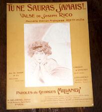 tu ne sauras jamais ! valse de Joseph Rico partition piano seul 1910