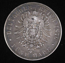 1876 J Germany German States Hamburg Five Funf Mark Silver Coin Very Fine++ #...