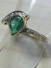 Vintage. 18ct.18K.750. Yellow Gold.  Emerald & Diamond Ring. Size.N. U.S. Size 7