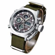 OHSEN Mens Luminous Date Canvas Band Quartz Sport Army Wrist Watch Waterproof