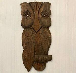 MCM Vintage Hand Carved Wooden Owl Sculpture Figurine Bird wall ART Plaque 18""