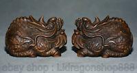 3 pouces vieux buis chinois sculpté feng shui dragon bête licorne statue paire