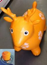 ORANGE DEER BIG BOUNCY INFLATABLE ANIMAL SPACE HOPPER-ONE - RUBBER-FROM 12 MNTH+