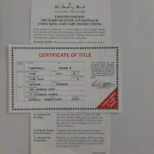 Danbury Mint 1967 Ford Mustang FASTBACK, Certificate of title 1/24