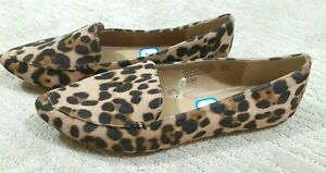 Time and Tru Womens Leopard Print Loafer Flats Sz 8.5 Wide Slip On Shoe Comfort