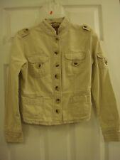 Women's Vintage Jordache Button Front Cotton Beige Khaki Military Jacket Siz 7/8