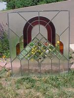 Large Vintage Stained Beveled Glass Church Window Panel Red & Amber Shades