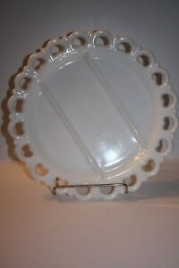"""Milk Glass 13"""" Round Platter with 3 Sections"""