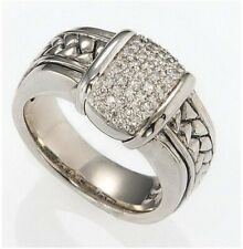 Equestrian Woman's 925 Basketweave Ring 7 �� Scott Kay Silver & Diamond Cluster