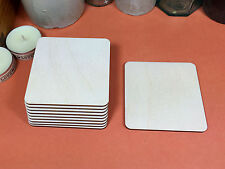 Quadrato in legno forme 10.2 cm (x10) LASER CUT LEGNO ritagli Crafts Forma Bianco