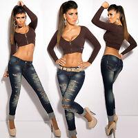 Women Skinny Jeans Leo Cracks Pant Ladies Denim Party Trouser Size 6 8 10 12 14