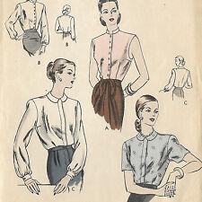 "Vogue 6065 Vintage 1950 Sewing Pattern Blouse 4 Variations Bust 32"" Size 12"
