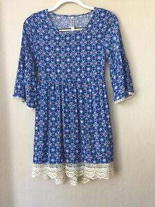 BEAUTEES GIRL COTTON  Dress  With Vest And Owl Chain. Size 14 NWT