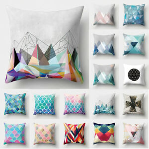 Colorful Geometric Pattern Polyester Pillow Cushion Cover  Decorative Pillowcase