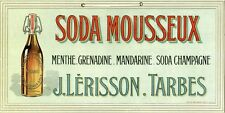 """""""SODA MOUSSEUX J. LERISSON"""" Carton original  Litho années 20  32x16cm"""
