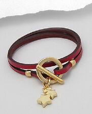 Ladies Genuine Red Leather Gold Brass Star Charm Wristband Wrap Around Bracelet