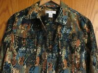Christopher and Banks Woman's Petite Medium button up jacket browns, blues, rust