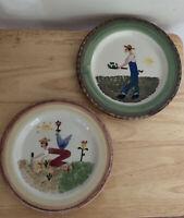 2 Hartstone USA Judy Kruger Hand Painted Plate Farmer And Mrs Farmer Garden Folk