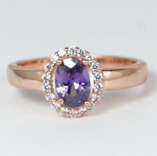 Women's Rose Gold plated Purple crystal Ring UK Size R