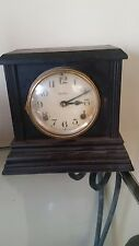 Antique Wood Case Ingraham Clock Bristol Mantle Shelf Runs Great
