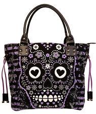 Banned Sugar Skull Candy Shoulder Handbag School Gothic Rockabilly Black Purple