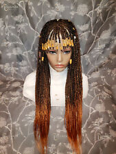 """4x4 Closure Cornrow Braided Wig Color 1b/ Peach, white 3""""-28"""""""