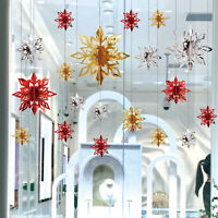 12x 3D Glitter Hanging Snowflake Christmas Winter Garland Xmas Tree Party Decor