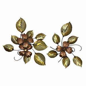 Vintage MCM Wall Hanging Pair Dogwood Flowers Brass Copper Metal Art Sculpture