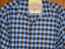 Robert Graham Blue Checks Plaid Long Sleeve Contrast Flip Cuff Shirt Men's M