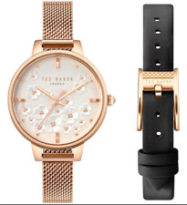 Ted Baker Ladies Pink Gold/Black Strap Floral Watch