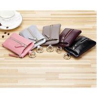 Women Men Genuine Leather Keychain Key Bag Case Clutch Card Holder Wallet Purse