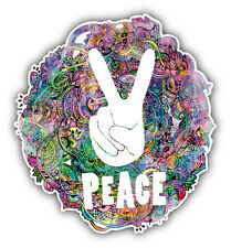 Peace Sign Hippie Watercolor Style Car Bumper Sticker Decal 5'' x 5''
