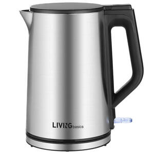 1.5L 1500W Electric Kettle Double Wall 100% Stainless Steel BPA-Free-LIVINGbasic