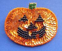 Hallmark PIN Halloween Vintage JOL PUMPKIN Beaded SEQUIN Large Holiday Brooch