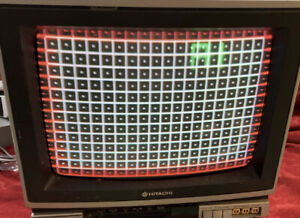 "Hitachi Composite Color Computer Monitor/TV 13"" Vintage CRT Tube Retro Gaming 64"
