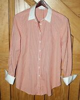 Trina Turk Women's Blouse Size M Stretch Striped White Orange Cuff Links