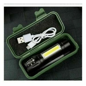 LED Torch USB Rechargeable Flashlight Police Camping Hiking Lamp Small Torch UK