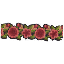 Lux Accessories Black Red Rose Green Leaf Embroidered Applique Choker Necklace