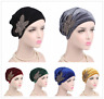 Beaded Flower Velvet Turban Muslim Women's Elastic Hat Head Wrap Scarf Hijab Cap