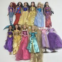Mattel Disney Princess lot - 10 Doll Lot 2 Dress Ariel Jasmine Belle Mulan