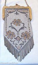 MANDALIAN 1920s ART DECO FLAPPER FLORAL MESH HAND BAG WITH SWAG FRINGE