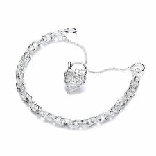 Pulsera de bisutería de plata esterlina sólida Corazón Candado