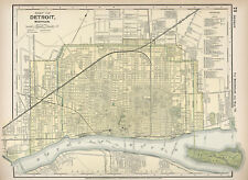 1891 Map Detroit Michigan Vintage Wall Poster Antique Style Ready to Frame Print