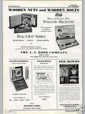 1937 PAPER AD Lincoln Logs Bricks Timber Medina Ohio A I Root Streamline Wagon