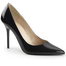 Pleaser Classique-20 4 Inch Pointed-toe Pump Blacks UK 10 BLK Pat