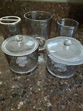 Bella lux bathroom 5 piece Glass Paisley Accessories Lot New Jars with lid +