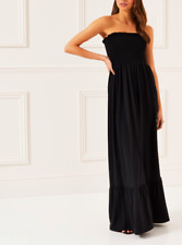 Lipsy Shirred Bandeau Maxi Dress Black BNWT Size UK 12